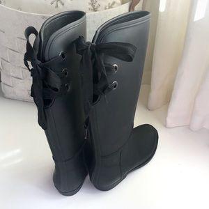 NIB Lace-up black rain boots